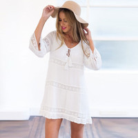 White Crochet Paneled Long Sleeve Mini Dress