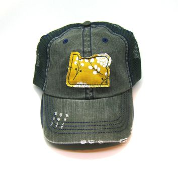 Oregon Trucker Hat - Distressed - Floral Fabric State Cutout