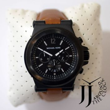 New Michael Kors Original Men's Dylan Brown Leather Strap Watch 46mm MK8512