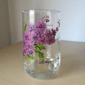 Vintage Drinking Glass, Flower of the Month Series, July Larkspur Purple Floral Glass Cup, Birthday Gift