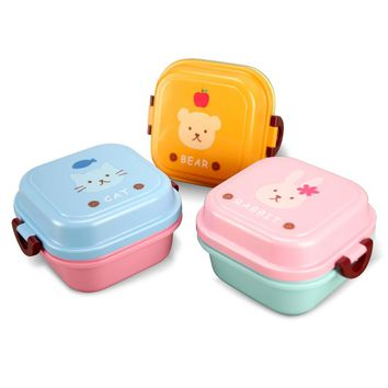Cute animal 540ml Plastic Lunch box Food Fruit Storage Microwave Cutlery Set Children Bento Lunch Boxs Gift