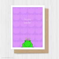 Funny Easter Card Happy Easter Cute Frog Pun Bunny Ears Fun Easter Cards For Friend Teen Her Him Handmade Greeting Cards Hoppy Easter Gifts