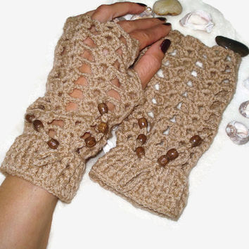 Soft Crochet Knit Fingerless Mittens With Two Sewn Wooden Buttons at Cuff ,Fingerless Knitting Patterns,Crochet Knit Fingerless Gloves