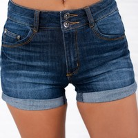 Life Is Short Double Button Shorts (Dark Wash)
