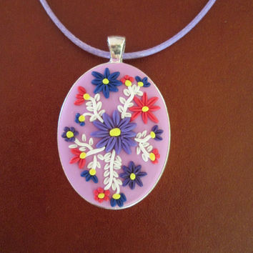 purple polymer clay pendant,purple flower necklace,vintage cameo necklace,colorful statement necklace,purple floral necklace,artisan pendant