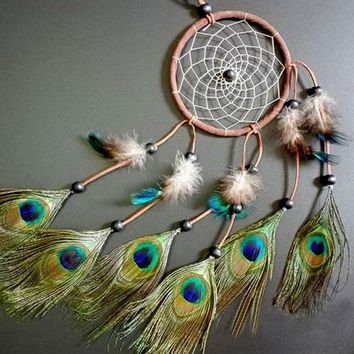 Handmade Dreamcatcher with Peacock Feathers