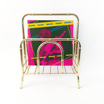 Gold Record Bin / Vintage 1980s Brass Bamboo Magazine Rack / Vinyl LP Storage / Retro Hipster / Glam Hollywood Regency Metal Stand