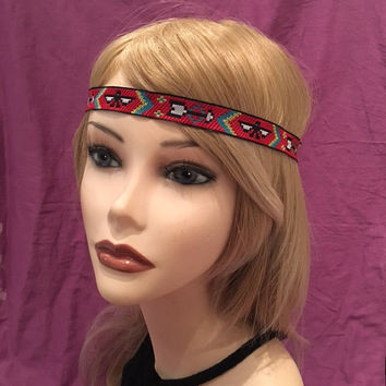 Native American Style Red Black Green Arrow Boho Art Deco Flapper Headband Hippie Boho Festival Piece Head Band hair piece Pow wow Bohemian