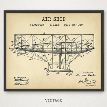 Air ship Patent Print, Flying Machine Art Download, Vintage Airplane, Traditional Flight, Aviator Pilot Gift, Aviation Poster, Aerospace Art