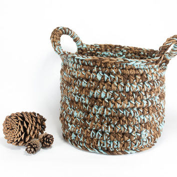 Decorative Baskets, Nursery Storage Baskets, Large Crochet Basket, Brown and Blue Nursery, Plant Basket, Book Basket, Living Room Decor