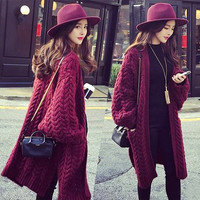 Fall Winter Burgundy Chunky Knit Loose Fit Long Cardigan. Oversized Knitwear
