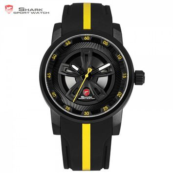 Thresher SHARK Sport Watch Brand Racing Layer Yellow 3D Wheel Design Dial Crown Quartz Silicone Strap Men Wrist Timepiece /SH503