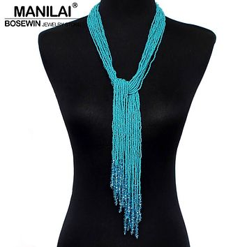 MANILAI 12 Color Boho Style Jewelry Handmade Beaded Long Necklace Women Resin Bead Tassels Pendant Collares Statement Necklaces