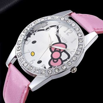 PU Leather Pink Ladies Watches Rhineston Women Dress Luxury Hello Kitty Silver Wrist Watch Bracelet Vintage Relogio Sport Clock