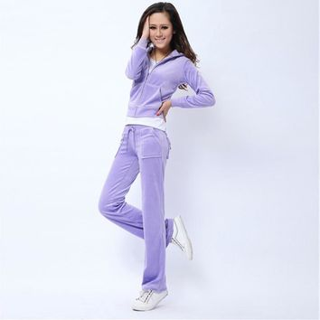 Juicy Couture Pure Color Velour Tracksuit 6047 2pcs Women Suits Violet