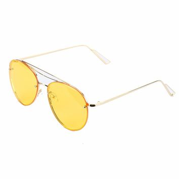 Yellow Aviator Fashion Sunglass