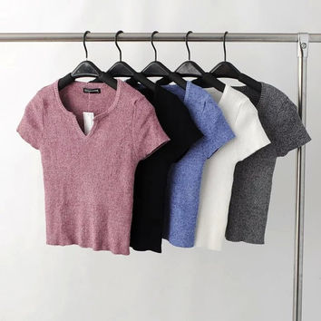 V-neck Knit Stylish Short Sleeve Fall Tops [9195538055]