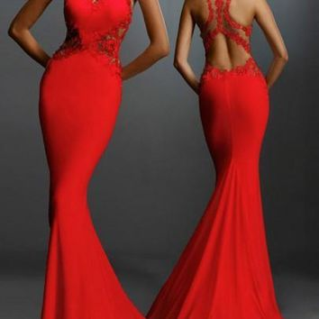 Red Patchwork Lace Keyhole Round Neck Backless Fishtail Party Polyester Maxi Dress