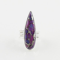 Purple Copper Turquoise Sterling Silver Ring - keja jewelry