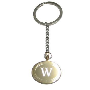 Gold Toned Etched Oval Letter W Monogram Pendant Keychain