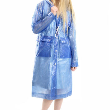 80s Vinyl Hooded Raincoat Blue Striped Rain Slicker Outerwear Coat Jacket Windbreaker Womens Vintage Spring Fashion 1980s Medium M Small S