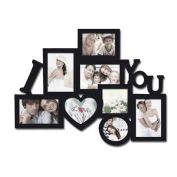 Adeco Decorative Black Wood 8 Openings Decorative Wood ''I Love You'' Collage Wall Hanging Picture Photo Frame, 4x6 in, 4.5x5 in, 3.5x5 in and 4x4 in