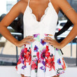 White Floral Print Backless Pleated Romper