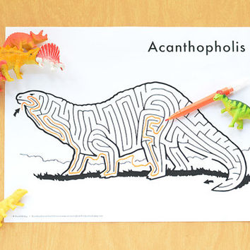 Printable Dinosaur Maze | Acanthopholis | Hand-Drawn Instant Download Activity For Kids
