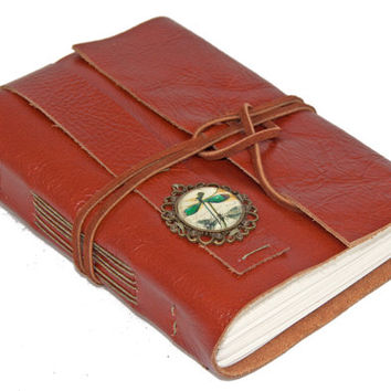 Brown Leather Journal with Dragonfly Cameo Bookmark - Ready to Ship -