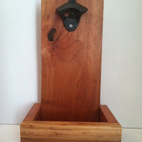 Reclaimed Cedar Bottle Opener and Cap Catcher