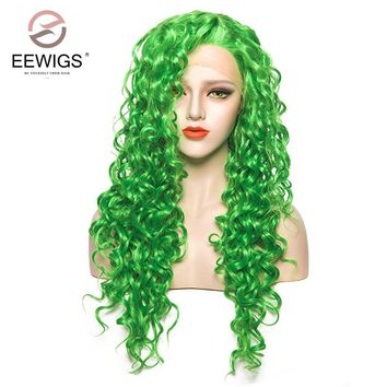 Synthetic Lace Front Wigs Long Curly Wig Green Wigs for White Women Natural Glueless Fiber Hair Wigs for Drag Queen Cosplay