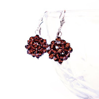 Jewelry, dangle earrings, sterling silver earrings, Swarovski crystal - brown, Bead-woven earrings, coffee