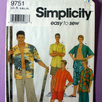 "Men's Shorts and Shirt Simplicity 9751 Size S M L XL, Chest 34, 36, 38, 40, 42, 44, 46, 48"" Sewing Pattern Uncut"