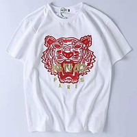 Kenzo 2019 new limited edition men and women models loose round neck half sleeve t-shirt white