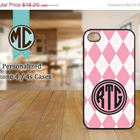 ON SALE iPhone 4 Case - iPhone case - Monogram iPhone case - iPhone 4s case - Argyle iPhone cover - MC070