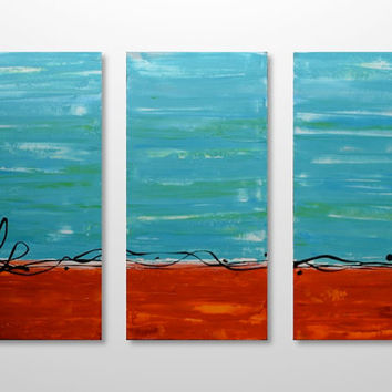 Large Abstract Landscape Triptych Painting - Original Canvas Acrylic Modern Art- Orange, Red, Blue, Green, Turquoise: 24 x 36- FREE Shipping