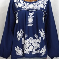 """La Mariposa Larga"" Embroidered Mexican Blouse - Royal Blue"