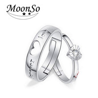 925 Sterling Silver Rings With CZ Zircon For Couples Matching Rings?Adjustable Ring Jewelry Couple Lovers Rings Moonso R687