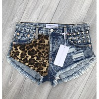Rawr Cheetah Studded Babe Shorts