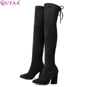QUTAA 2017 NEW Sucrb Leather Women Over The Knee Boots Lace Up Sexy Hoof Heels Wom