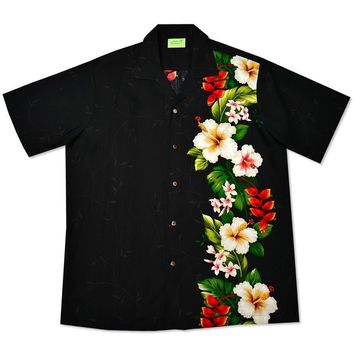paradise black hawaiian rayon shirt