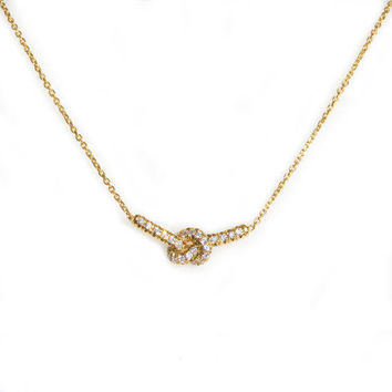 Love Knot Necklace, 14K Yellow Gold Necklace, Love Knot Pendant, 37cm Diamond Necklace, Love Knot Jewelry - 14K Yellow Gold