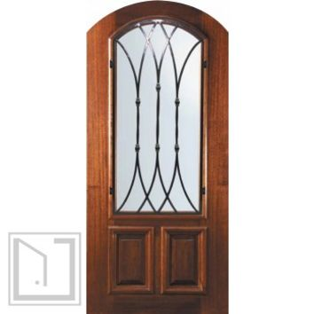 Pre-hung Single Door 80 Wood Alder Warwick Arch Top Arch Lite
