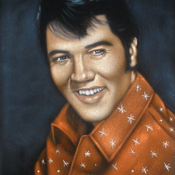 Young Elvis Presley The king  black velvet original oil painting handpainted signed art 18 by 24 inches