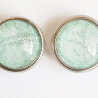 Teal Blue Glass Knobs- Brass or Brushed Nickel
