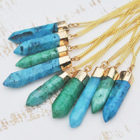 GREEN/BLUE QUARTZ ➳ GOLD DIPPED CRYSTAL NECKLACE