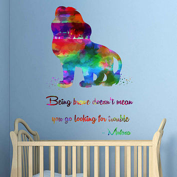 kcik2034 Full Color Wall decal Watercolor Character Disney Sticker Disney children's room The Lion King quote