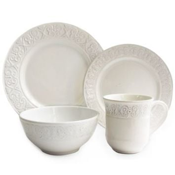 American Atelier Calista 16-Piece Dinnerware Set in White