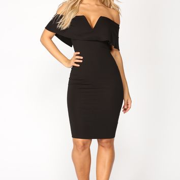 Lyla Off Shoulder Dress - Black