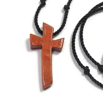 Wooden Cross Necklace -  Rare African Pink Ivory Wood